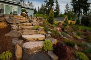 Contemporary with stone retaining wall hillside garden hillside garden