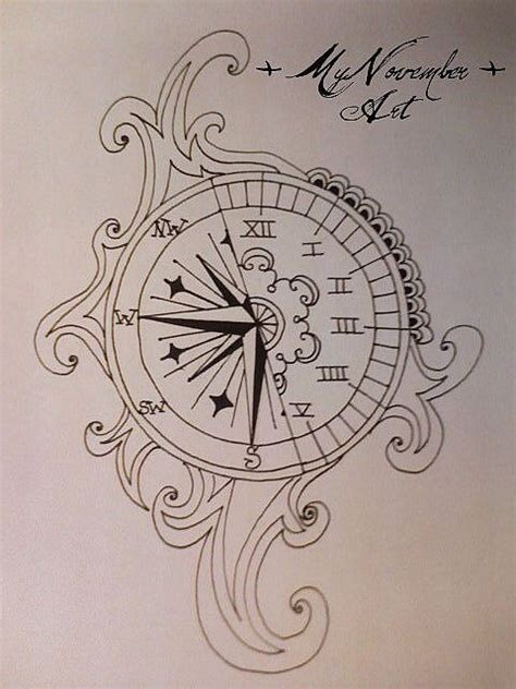 compass tattoo art half clock half compass really like this concept tattoo