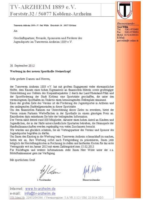Anschreiben Werbung Turnverein Arzheim 1889 E V Werbung Sponsoring