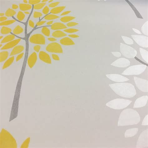 wallpaper grey and yellow fine decor riva floral trees in yellow fd41594