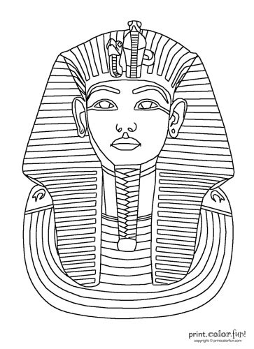 free tutankhamun death mask coloring pages