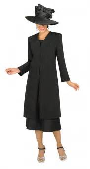women church suits black g3813 embroidered duster
