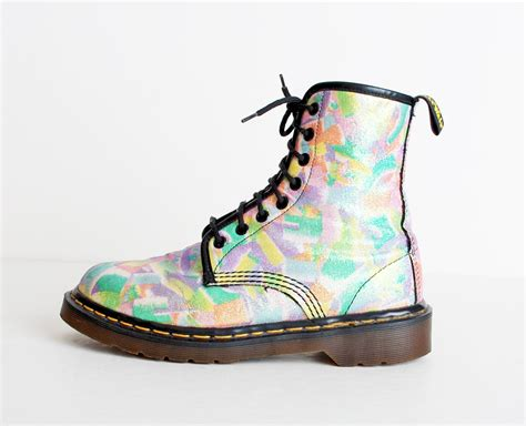 sandals from the 90s size 7 vintage 90s dr martens rainbow glitter canvas lace up