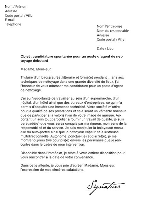 lettre de motivation de nettoyage d 233 butant