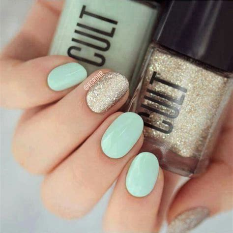 mint color nails mint green nails with gold accent nail nails nails