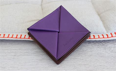 Origami leather coin purse   Row Brown and Ultra Violet (portfolio purple)   hurbane