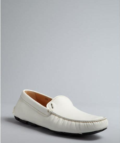 white prada loafers prada white textured leather square moc toe loafers in