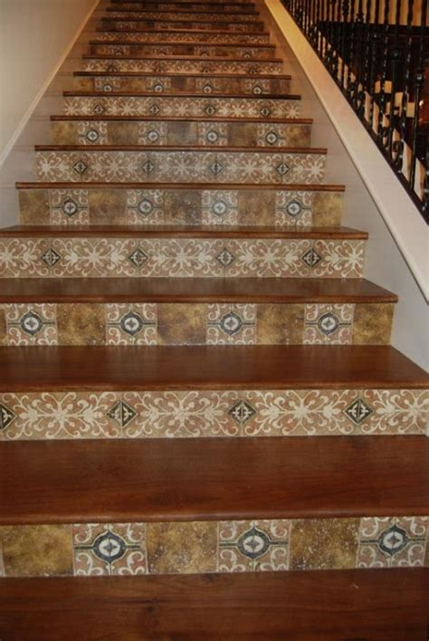 Wood Stairs With Tile Backsplash What A Beautiful And Tiles For Staircase