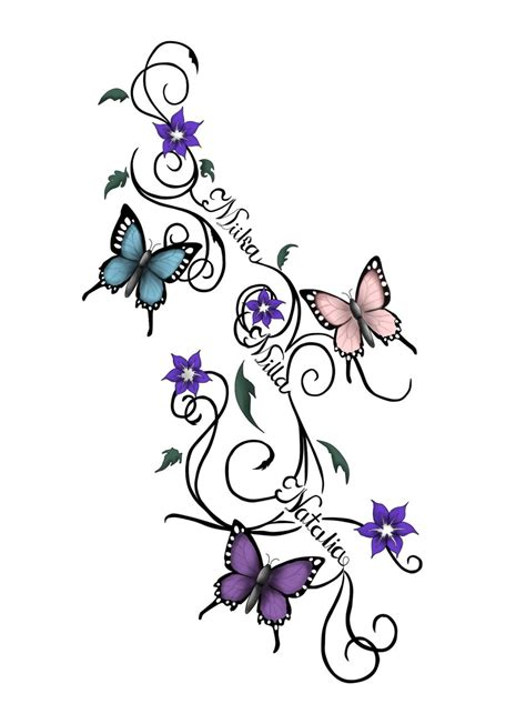 flowers with vines tattoo designs vines flowers and butterflies design