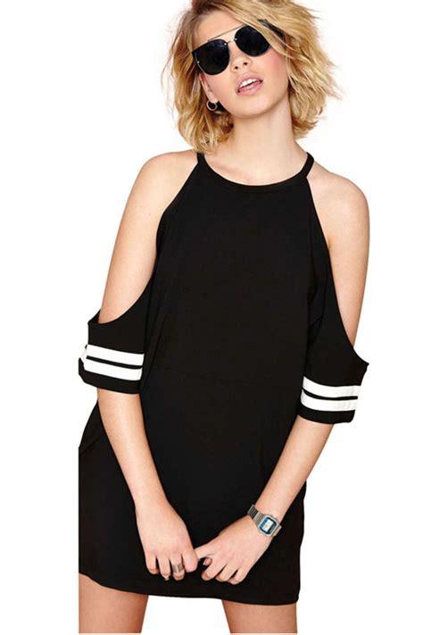 black chiffon  neck bare shoulder mini dress