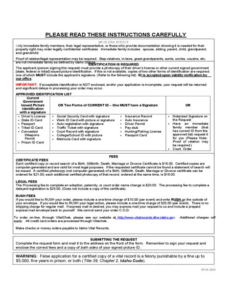 Marriage License Records Idaho Vital Statistics Certificate Request Form Idaho Free
