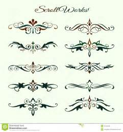 scroll works design ornamental decorative element royalty
