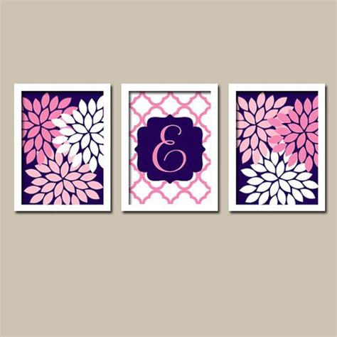 Pink And Navy Nursery Decor Navy Pink Nursery Wall Monogram Baby Nursery Wall Bedroom Pictures Canvas