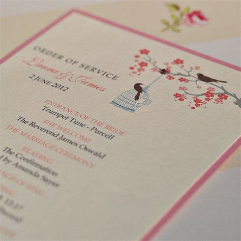 order of service wedding love birds cards by beautiful day