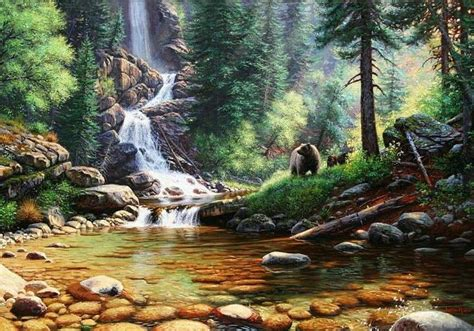 forest waterfall bear painting artwork