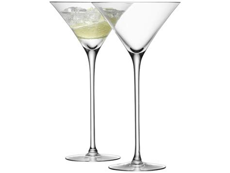 martini two cocktail glass x 2 clear handmade glass bar collection