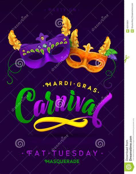 Mardi Gras Carnival Calligraphy Invitation Poster Stock Mardi Gras Powerpoint Template