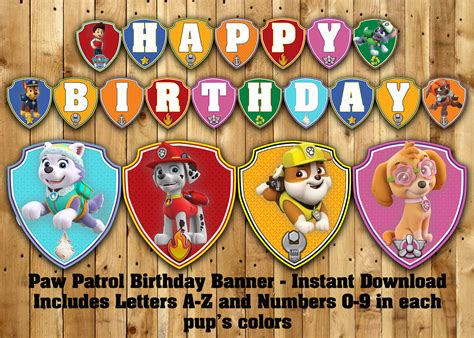 printable banner paw patrol paw patrol inspired birthday banner cre8ivedesign