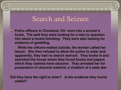 Search And Seizure Warrant Exle Ppt The Bill Of Rights Powerpoint Presentation Id 5389479