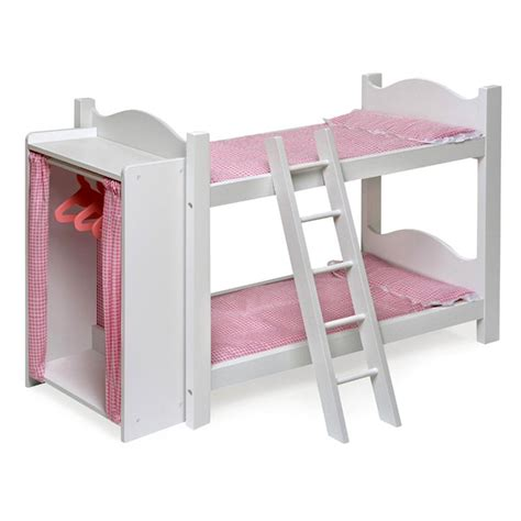 Baby Doll Bunk Bed Badger Basket Pink Gingham Princess Doll Bunk Bed With Armoire Baby Doll Furniture At Hayneedle