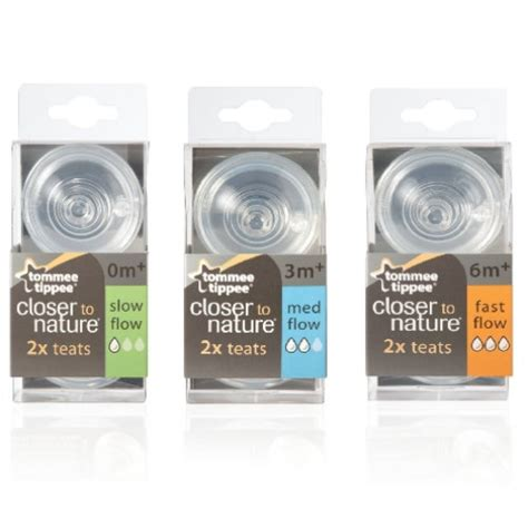 Tommee Tippee Closer To Nature Teats 2 Pack Medium Flow 3m tommee tippee closer to nature 2 packs teats 3m med flow