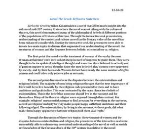 Baccalaureate Reflective Essay reflective statement zorba the international baccalaureate world literature marked by