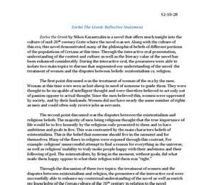 World Literature Essay Exle by Reflective Statement Zorba The International Baccalaureate World Literature Marked By
