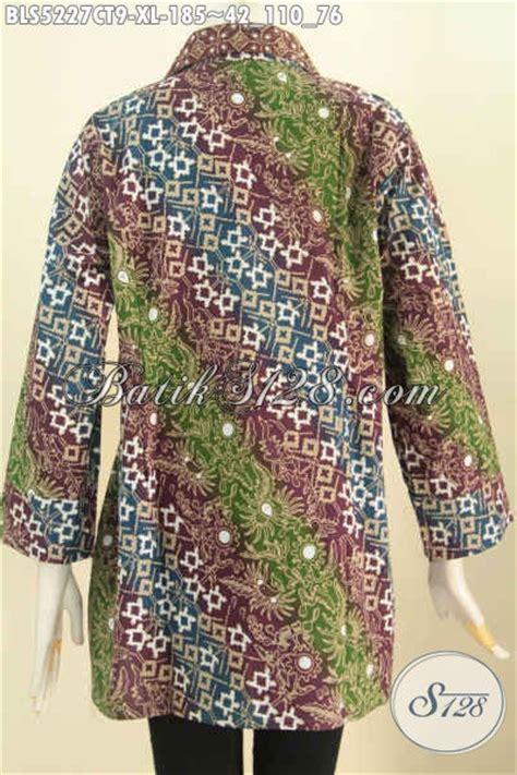 Blus Batik Elegan 263 Cap blus batik wanita dewasa pakaian batik modern halus motif mewah cap tulis desain kerah kotak