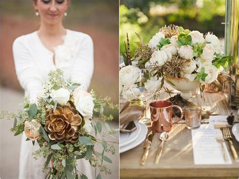 Chandelier Green Metalic And Copper Wedding Inspiration