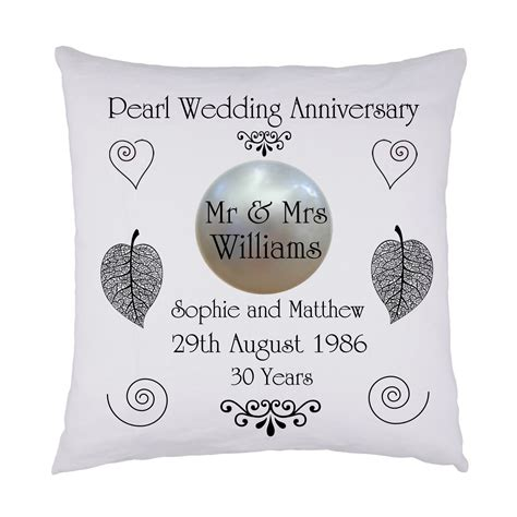 Wedding Anniversary Gift Names by Pearl Wedding Keepsake Cushion Personalised Names Date