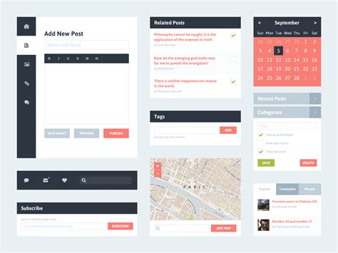 flat blog ui kit free psd psdexplorer