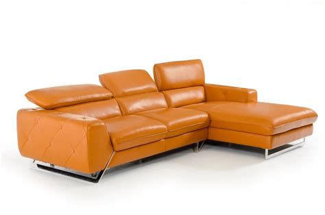 orange sectional sofa divani casa modern orange leather sectional sofa