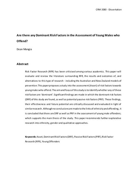 master thesis abstract keywords dissertation abstract