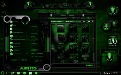 alienware themes for windows 7 green windos 7 theme alien tech green by toxicosm on deviantart