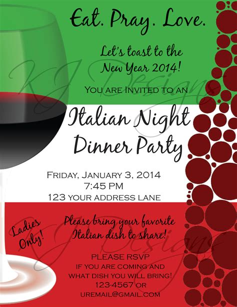 italian dinner party invitation template don huppe