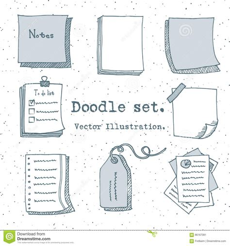 doodle sign up sheet vector set of paper sheet pack of paper tag