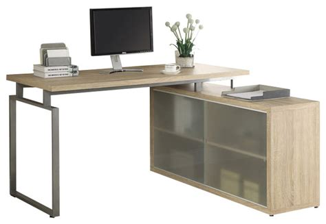 Frosted Glass L Shaped Desk Reclaimed Look Quot L Quot Shaped Desk With Frosted Glass Contemporary Desks And Hutches