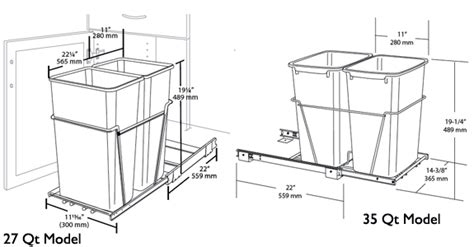 trash can cabinet size rev a shelf pull out waste containers 2 x 27 quart 2 x 6 75 gallon and 2 x 35 quart