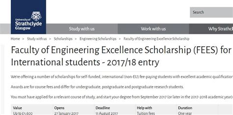 Grant Mba Internacional Student by Of Strathclyde Faculty Of Engineering