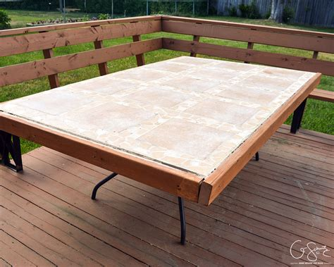 tiled bench tops remodelaholic how to replace a patio table top with tile