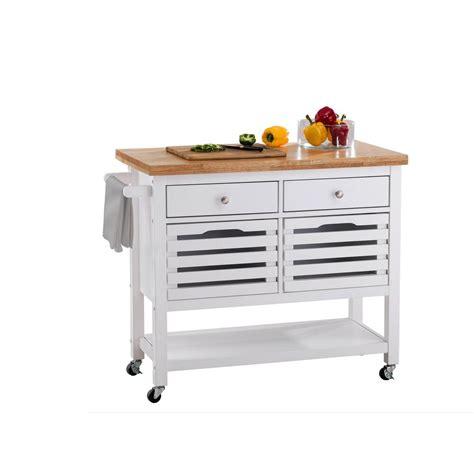 sunjoy new jaden white body with wood top kitchen cart