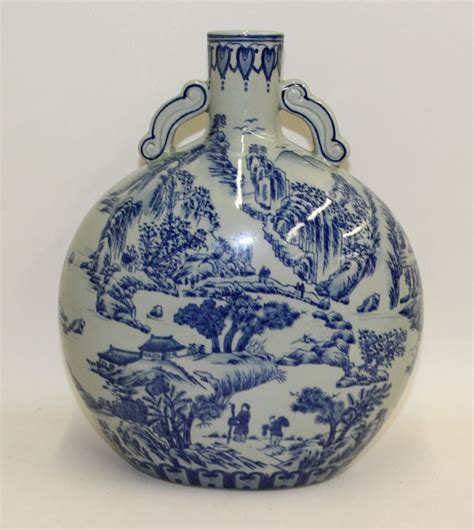 Moon Vase by Large Antique Blue White Moon Vase Flask