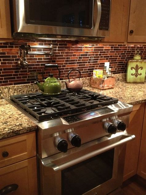 Copper Kitchen Backsplash Copper Glass Tile Backsplash Cambria Quartz Maple