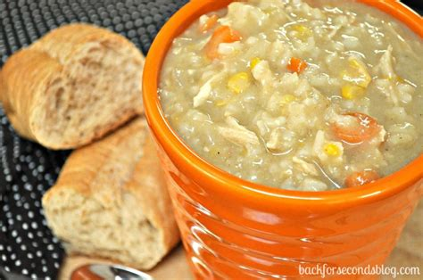 easy crock pot creamy chicken and rice soup back for seconds