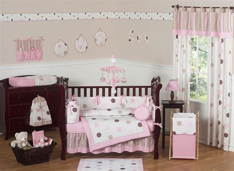pink and brown baby room pink brown polka dot circles baby crib bedding 9pc