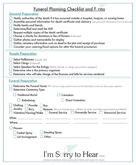 funeral planner template free funeral planning checklist and forms for pdf