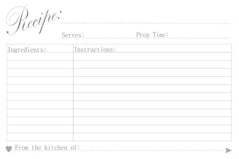 Free Black And White Recipe Card Template Word by Free Printable Recipe Cards