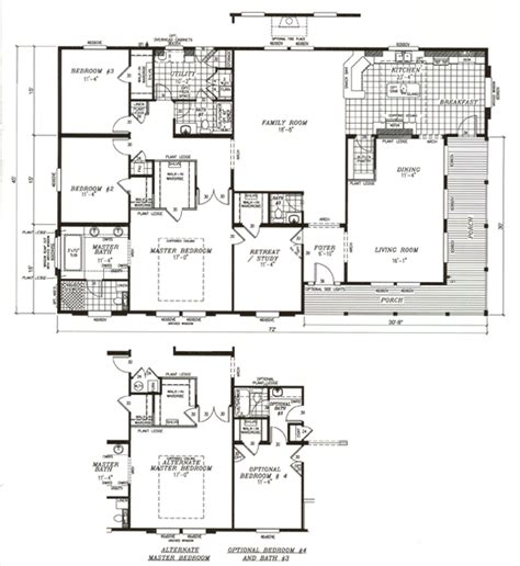 image 4 bedroom mobile home floor plans