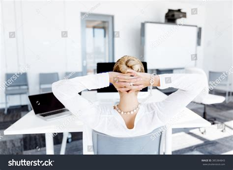 Office Worker At Desk Attractive Office Worker Sitting Desk Stock Photo 385384843