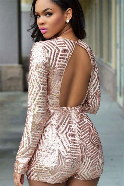 light pink plunging  neck sequin decor backless romper